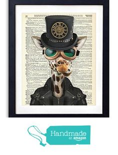 Steampunk Giraffe Upcycled Vintage Dictionary Art Print 8x10 from Vintage Book Art Co. http://www.amazon.com/dp/B017FO51PM/ref=hnd_sw_r_pi_dp_Hpsuwb1V4SYC5 #handmadeatamazon