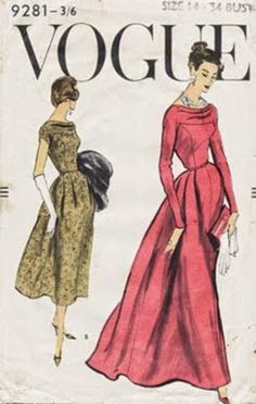1950's Vogue 9281 Sewing Pattern
