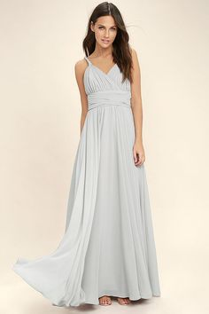 Lulus Exclusive! You'll have free reign of the party in the Carte Blanche Light Grey Maxi Dress! A pleated surplice bodice made from lightweight chiffon is supported by a braided, halter neckline and back sash that loops around and ties at the waist. Fitted waist flows into a full maxi skirt. Hidden back zipper/clasp.