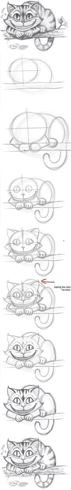 Tutoriel dessiner le chat d'Alice au pays des merveilles