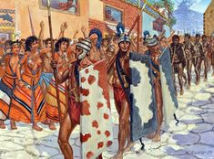 Minoan warriors with libyan prisoners in the city of Akrotiri on the island of Santorini, before a volcano blew half the island into the air. 1600 BC Bronze Age - art by Giuseppe Rava Greek History, Ancient History, European History, Ancient Aliens, American History, Ancient Troy, Minoan Art, Bronze Age Civilization, Greek Soldier