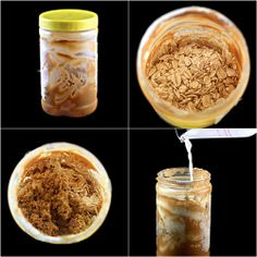 Creamy Peanut Butter Brown Sugar Overnight Oatmeal ; Made with whatever is left over in the jar.  No waste!  The staff at Yahoo Sports loved this!