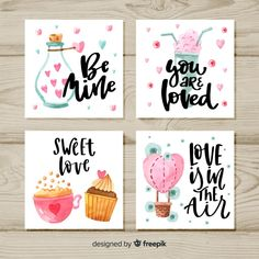 - Free printable editable Valentine's day Art greeting card Wall Art Poster animal… Watercolor Birthday Cards, Birthday Card Drawing, Watercolor Cards, Watercolor Quote, Watercolor Heart, Brush Lettering Quotes, Hand Lettering Quotes, Creative Birthday Cards, Diy Crafts For Adults