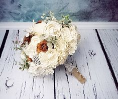 """Bridal Ivory Brown Rustic Wedding Bouquet with Sola Flowers Cedar Roses and Burlap. Ivory, brown and pale green rustic wedding BOUQUET made of sola flowers, cedar roses, faux frozen eucalyptus, dried sorghum, burlap, lace and pearl pins. Will make a great set with patinated rings box and rustic boutonnieres and corsages which I can also make. MADE ON ORDER Dimensions: length approx. 28cm (11 1⁄32""""), diameter approx. 23cm (9 1⁄16"""") ~~~~~~~~~~~~~~~~~~~~~~~~~~~~~~~~~~~~~~ Of course write to…"""