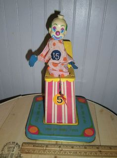 Jack in The Box Vintage Tin Toy Pop Up Ring Toss Clown 1960's RARE   eBay