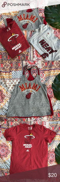 Miami Heat Apparel Bundle of 3 Tees and Tanks Tees are Adidas brand. Tank is the official NBA For Her brand. All size S. Gently loved in team spirit :) Miami Heat, Lebron James, basketball. adidas Tops Tees - Short Sleeve
