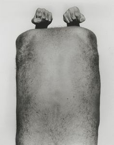 'Back with Arms Above' - John Coplans, 1984. He photographed his body from the base of his foot to the wrinkles on his hand, but he never photographed his face.