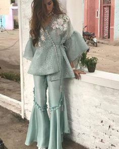 Security Check Required - Bespoke custom made Sharara suits For any inquiries Please email : nivetasfashion . We Ship Worldwide Dress Indian Style, Indian Dresses, Indian Wear, Indian Outfits, Pakistani Wedding Outfits, Pakistani Dresses Casual, Pakistani Dress Design, Pakistani Sharara, Pakistani Bridal