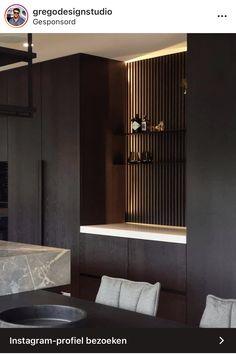 Living Room Wall Units, Living Room Interior, Living Room Decor, Pantry Interior, Kitchen Interior, Modern Kitchen Design, Modern Interior Design, Wood Cladding Interior, Home Entrance Decor