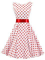 Women's White Red Polka Dot Dress Vintage Sleeveless 50s Rockabilly Swing Short Cocktail Dress
