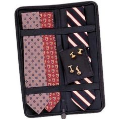 Amazon.com: Travel Tie Case Holds 6 Neck Ties w/ Accessory Pocket Black Ramie - Household Essentials 06704: Home & Kitchen
