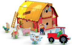Sassi Junior has expanded its range of puzzles, construction kits and books with several new titles that have just arrived which include 3D Farm model and book. Learn all about life on the farm! Build a farm out of colorful cardboard pieces and play with the six figures. You can lend the farmer a hand. Place the hay in the hayloft, or take the cows out to graze. Feed the hens and fix the fence, and when night falls close the doors and windows. 3+