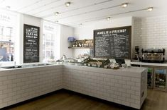 Amelie and Friends, subway tile, British cafe, stylish takeaway counter