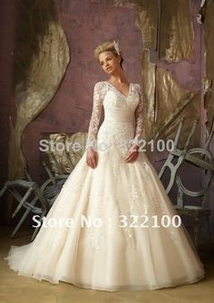 LW7237 High Quality Custom Empire Waist Plus Size Wedding Dress With Sleeves Vintage Inspired Lace 2014 US $216.00