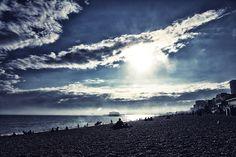 Sunset, Brighton beach, UK.