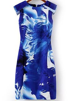 Blue Sleeveless Floral Bodycon Dress 15.67