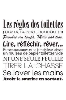 Sticker Les règles des toilettes<br>Noir