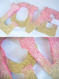 Ombre Glitter LOVE Sign DIY    Camp Makery -Valentine's Day