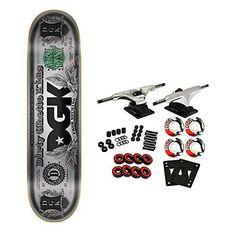 """DGK Skateboard Complete Hundo Foil Silver 8.06″: 8.06"""" DGK Deck Core Trucks 52mm TGM Logo Wheels"""