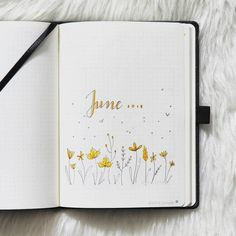 Bullet journal monthly cover page, June cover page, hand lettering, flower doodles, bird doodles. | @pine.jungle