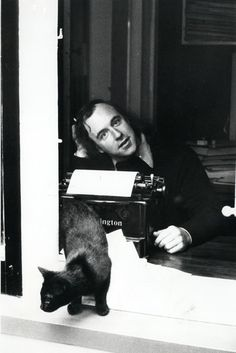 The fabulous Fred Dagg (aka John Clarke) and cat at work (1975)