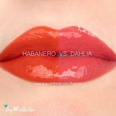 Compare Habanero vs. Dahlia LipSense using this photo. Habanero & Dahlia are part of the Fiesta LipSense Collection by SeneGence.