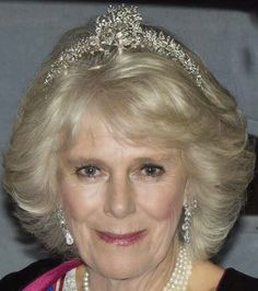 Camilla, Duchess of Cornwall, wearing her family's Cubitt-Shand tiara.