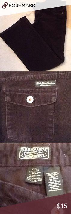Polo Jeans Company black corduroy jeans Ralph Lauren Mfg thin wale corduroy boot cut jeans, size 10 X 32. 97% cotton, 3% elastine, machine wash cold. Good used condition. Polo by Ralph Lauren Jeans Boot Cut