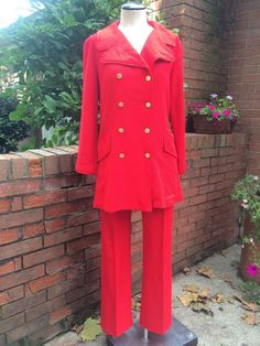 Vintage IconicTwo Piece Long Double Breasted Jacket and High Waist Pant Suit #JerryMannofCalifornia