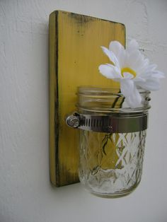 Rustic wood sconce mason jar wall vase french country decor shabby chic. $22.00, via Etsy.