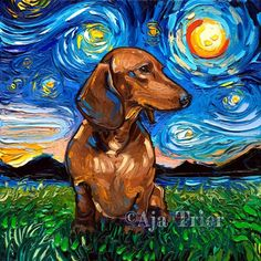 Brown Short haired Dachshund Starry Night dog Art CANVAS print by Aja Braune kurzhaarige Dachshund Starry Night Hund Kunst Leinwand drucken von Aja 8 x 10 x 12 x 16 x 20 x 2 Arte Dachshund, Brown Dachshund, Dachshund Love, Daschund, Dog Paintings, Original Paintings, Canvas Art Prints, Painting Prints, Dog Canvas Painting