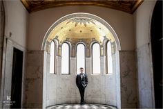 Iconic Groom Photo under the gold dome Kevin Le Fu Photography  Modern LA Weddings  LV Floral Events