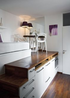 A 175 Square Foot Micro-Apartment with a Hide-Away Kitchen - Cute Micro-Apartment – Living Space with Hidden Kitchen House - Micro Apartment, Tiny Apartments, Tiny Spaces, Apartment Kitchen, Apartment Living, Living Room, Apartment Layout, Studio Apartments, Apartment Interior