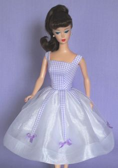 Lilac Mist! on eBay auction right now! Vintage Barbie Doll Dress Reproduction Barbie Clothes on eBay http://www.ebay.com/usr/fanfare1901?_trksid=p2047675.l2559