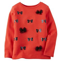 Carters Baby Girls Long Sleeve Tee Top Bows 12m Red >>> Be sure to check out this awesome product.