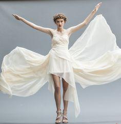 Ethereal Golden Ivory Wedding Gown Backless Gown by elikadesigns Backless Gown, Strapless Gown, Chiffon Wedding Gowns, Ivory Wedding, Wedding Dresses, Silk Chiffon, Silk Dress, High Low Gown, Elegant Bride