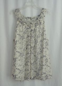Womens Plus ADIVA Cream Gray Floral Scoop Neck Lined Sleeveless Top Size 3X #Adiva #Blouse #CareerCasual