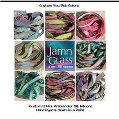 Watercolor Silk Ribbons Hand Dyed and Sewn Strings by Jamnglass, $33.99