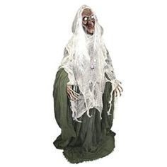 Halloween Haunters 5 foot Animated Standing Scary Evil Wicked Witch Prop Decoration  Turning Head Moans Cackles LED Eyes Tag a friend who can pull this off! #Zombie #Halloween #Costume