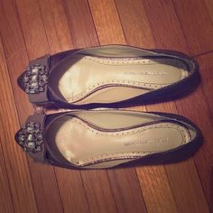 ADRIENNE VITTADINI FLATS Adrienne Vittadini flats with stone and ribbon detailing in pewter! These are beautiful and super comf! Adrienne Vittadini Shoes Flats & Loafers