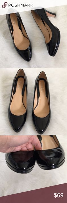 { Cole Hann } Heel in Black patent leather Cole Hann Black patent leather heel Comfy round toe Previously worn with normal wear to it  Insoles have some dirtiness/wear sewn in photos and soles as well overall in great condition Cole Haan Shoes Heels