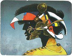 Josef LIESLER prints-lithography. Black profile