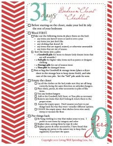 bedroom closet organizing checklist #31days of living well & spending zero #closet #organization