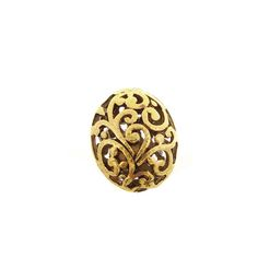 Antique Gold Pewter Puffed Oval Filigree Bead, 14x17mm