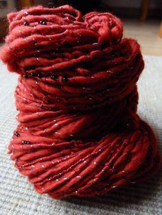 Ladybird's nest  handspun merino art yarn by AuthenticFiction, $35.00