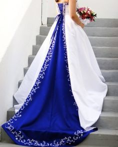 White Wedding Dresses With Royal Blue Accents 65