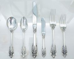 Design inspired by the lavishness and romance of. Baroque Design, Sugar Spoon, Cream Soup, Sterling Silver Flatware, Flatware Set, Set Design, Things To Buy, Tattoos, Tableware