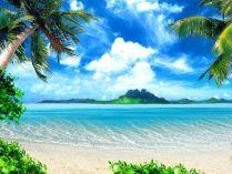 Fumdo de ecrã do paraíso na praia
