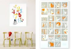 Numbers, Single Letter and Alphabet Art Prints by Binth