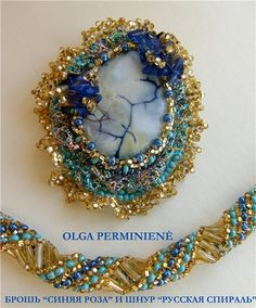 Russian spiral rope with beaded cabochon by Olga Perminiene on biser.info.  How to make a very ordinary stone eyecatching.  всё о бисере и бисерном творчестве